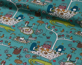 "Picnic - Picnic Whimsy Collection - Rebekah Ginda for Birch Organic Fabrics - Animal Picnic - Organic Cotton - Half Metre - 19.5"" Increments"