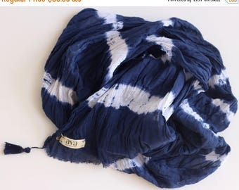 ON SALE Indigo Blue Cotton Scarf, Shibori Scarf, Blue cotton Scarf, Hand Dyed Scarf, Cotton Scarf, Shibori Accessories