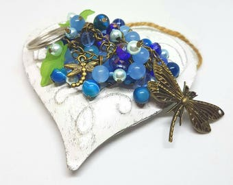 Dragonfly beaded keyring blue flower bag charm