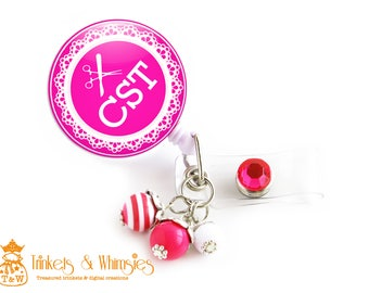 CST | Certified Scrub Tech | Certified Surgical Tech | Dark Pink Retractable Badge Holder