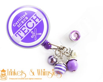 Certified Scrub Tech Purple and White Retractable Badge Holder