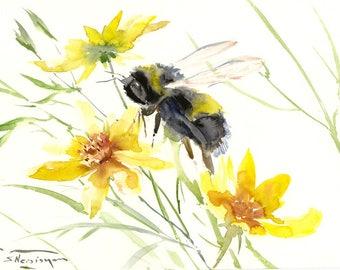 Bumblebee and Yellow flowers, original watercolor painting, 16 x 12 in, bee lover art, yellow black wall art
