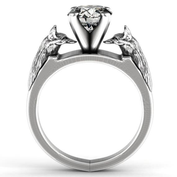 RESERVED FOR donovanweiss 2 Payments for Fox Engagement Ring with Moissanite, Fox Jewelry, Sterling Silver Fox Ring, Fox Solitaire Ring