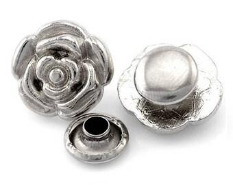 """Lot de 10 rivets """"roses"""" en métal argenté 13x12mm"""