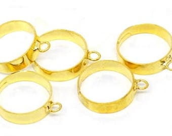 10 adjustable rings in gold tone, ring for charms or beads