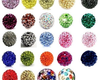 Set of 10 beads disco even color 10mm Crystal for Shamballa, many colors