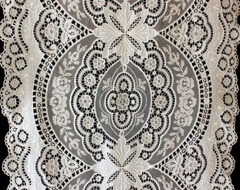 """SALE Antique Lace Table Runner Brussels Needle Lace Point De Gaze Scalloped Edge Runner 17"""" x 45.5"""" Extraordinary"""