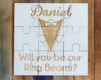 Ring Bearer Proposal, Asking, Wedding Invitation, Boy, Will You Be Our Ring Bearer Puzzle Card, Ring Bearer Puzzle Invitation, Ring Bearer