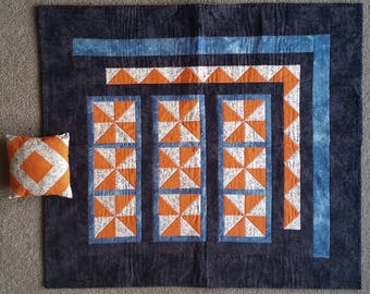 """Orange Black and Blue Baby Quilt and Pillow Set - 35x32 and 7"""" square"""