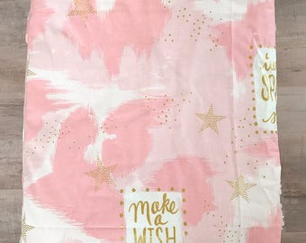 PINK GOLD STAR • Girl's Baby Blanket • Sherpa • Swaddle • Toddler • Baby Shower Gift • Blanket • Girl • Luxury • BizyBelle