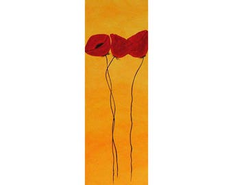 ORIGINAL  Three Red Poppies Abstract Painting Acrtlic Modern Floral Flower by Tanja Bell