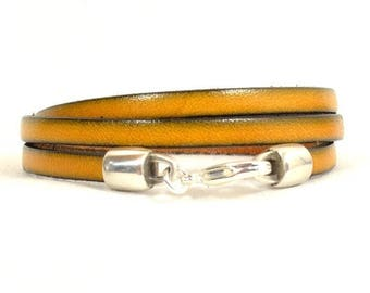 10% Off Mustard Yellow Leather Triple Wrap Bracelet with Lobster Clasp (5F-503)