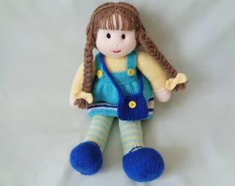 Doll, Hand Knitted Doll, Polly, Handmade Doll, dressed doll, Rag Doll, Plush Doll, Waldorf Doll, Little girl gift, Flower Girl Gift