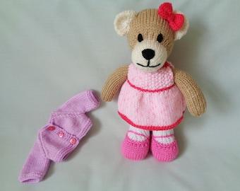 Teddy Bear, Hand Knitted Bear, Jenny, knitted Teddy Baby, Child Gift, Little Girl Gift, Baby Shower Gift