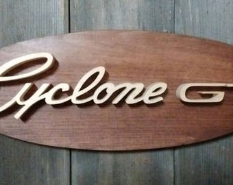 1970 Mercury Cyclone GT Emblem Oval Wall Plaque-Unique scroll saw automotive art created from wood for your garage, shop or man cave.