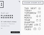 Planner Headers   3x4   Planner and Journal Clear Stamp Kit   Today Tomorrow Week Month Year Tasks