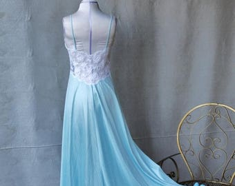 Spectacular Sale 25% off Soft Baby Blue Pinstriped Tricot Long Maxi Lingerie Gown with White Lace Bodice size Medium by Shadowline