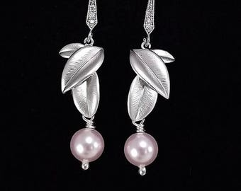 END Of SUMMER SALE Silver Earrings - Matte Silver Leaves with Swarovski Pink Pearl