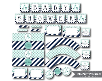 Giraffe Baby Shower Printables, Boy Baby Shower, Blue Giraffe, Baby Shower Decorations, Party Printables, Shower Décor, Instant Download