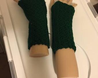 Hunter Green Fingerless Gloves