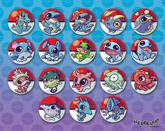 2nd Generation Water type pokémon 38mm buttons