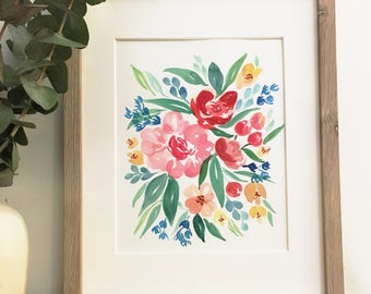 Watercolor floral burst | Original watercolor painting | One of a kind | Only one available | 8x10