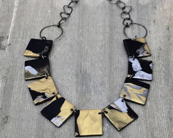 Tile necklace in black gold silver abstract design- reversible