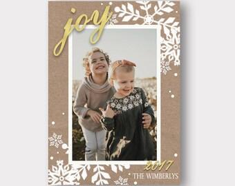 Rustic Winter Christmas Card | Photo Christmas Card | Snowflake Christmas Card | Joy | Farmhouse Christmas Card |