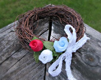 Patriotic Candle Ring Wreath, 4th of July Candle Ring, Red White and Blue Table Centerpiece, 4th of July Party Decor, Patriotic Decoration