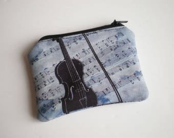 Coin purse, Small zipper pouch, Card wallet, Gift idea, Vintage, Cello, musica
