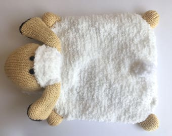 Sheep Hot Water Bottle - White and Light Yellow