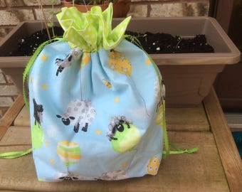 Small Knit or Crochet Project bags - sheep print