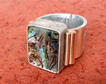 large mother of pearl ring - copper mother of pearl ring - gemstone ring - unique designer ring - mix of metals - unique