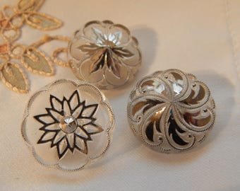 Clear with Silver Luster - Molded Vintage Buttons 3
