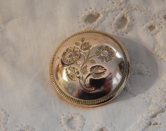 Wild Rose Flower Golden Age Button - Benedict & Burnham Circa 1834 - 1843