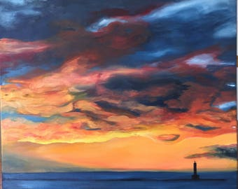 "Petoskey Pier Sunset #2 Redo 20"" by 24"" Original Oil Fine Art Painting"