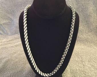 Grey Beaded Kumihimo Necklace