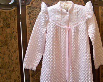 Pale Baby Pink Girl's Quilted Robe - Laura Dare - Girl's Size 12 - Vintage Lucy Littles - 125