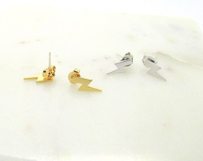 Featured listing image: Tiny Thunderbolt Lightning Stud//Sterling Silver or Gold Studs// Tiny Cartilage Stud//Small Minimalist Earrings//Tiny Earrings//Friends Gift