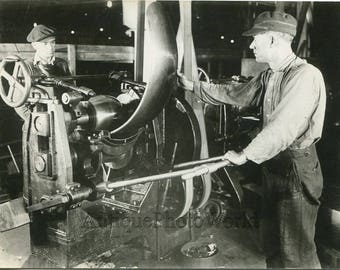 Automobile factory workers making car fender antique photo