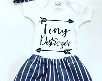 Denim Style Newborn Outfit, Tiny Destroyer Newborn Set,  Newborn Girl Coming Home Outfit, Going Home Outfit Girl, Newborn Girl Take Home Set