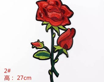 1 piece of red rose sew on or iron on patch/ badge