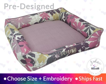 Lavender Floral Pet Bed - Dog Bed or Cat Bed | Purple, Pink, Thistle, Natural, Flowers, Girly | Washable and High Quality - Ships Fast!