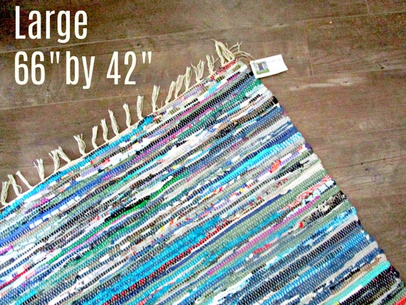 "Large Vintage Rag Rug, Colorful Fringed Rug, Entryway Rug, Fabric Rug, Country Farmhouse Rug 66"" by 42"", Excellent Condition"