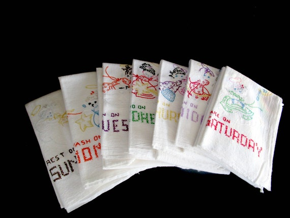 Vintage Days of the Week Tea Towels, Embroidered Kitchen Towels, 7 Days of the Week, All Present, Laundered to Perfection