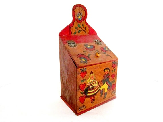 Vintage Recipe Box, Hand Painted Wood Recipe Box, Pennsylvania Dutch, Candle Box, Folk Art Kitchen Decor