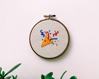 "Embroidery - Tada emoji embroidered 4"" wall hanging"