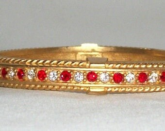Jackie Kennedy GP Bangle Bracelet - 24K Simulated Rubies with Crystals, Box and Certificate - Size 7