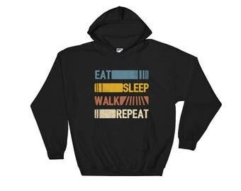 Eat Sleep Walk Repeat Funny Vintage Retro Gift Hoodie