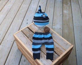 Newborn Pant -- stripe mis in black, gray and blue with optional hat